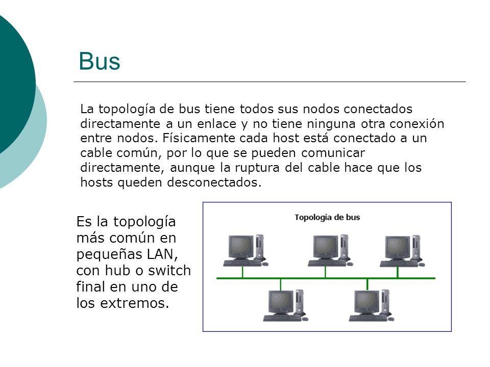 Bus La topología de bus tiene todos sus nodos conectados directamente a un enlace y no tiene ninguna otra conexión entre nodos.