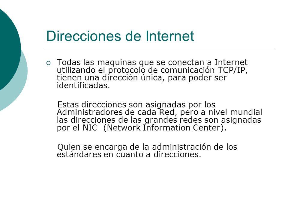Direcciones de Internet Todas las maquinas que se conectan a Internet utilizando el protocolo de comunicación TCP/IP, tienen una dirección única, para poder ser identificadas.
