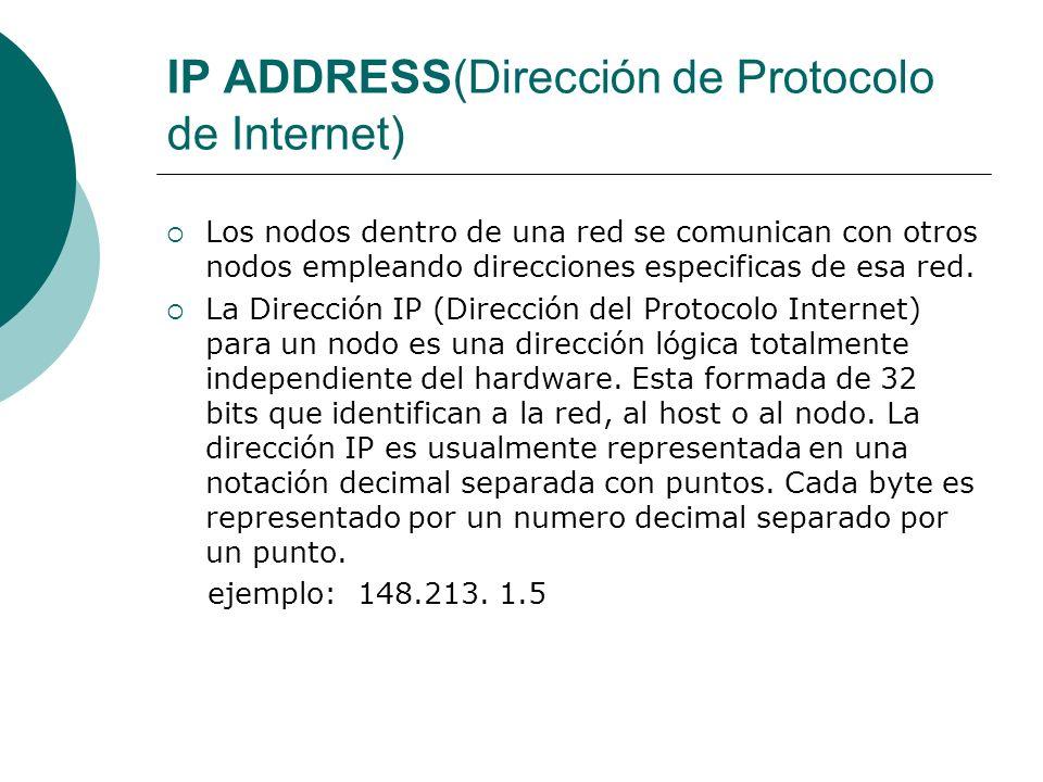 IP ADDRESS(Dirección de Protocolo de Internet) Los nodos dentro de una red se comunican con otros nodos empleando direcciones especificas de esa red.