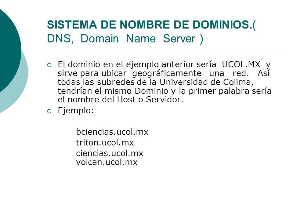 SISTEMA DE NOMBRE DE DOMINIOS.( DNS, Domain Name Server ) El dominio en el ejemplo anterior sería UCOL.MX y sirve para ubicar geográficamente una red.