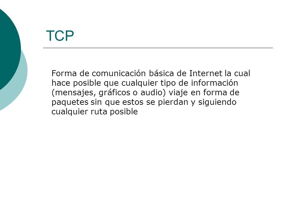 TCP Forma de comunicación básica de Internet la cual hace posible que cualquier tipo de información (mensajes, gráficos o audio) viaje en forma de paquetes sin que estos se pierdan y siguiendo cualquier ruta posible