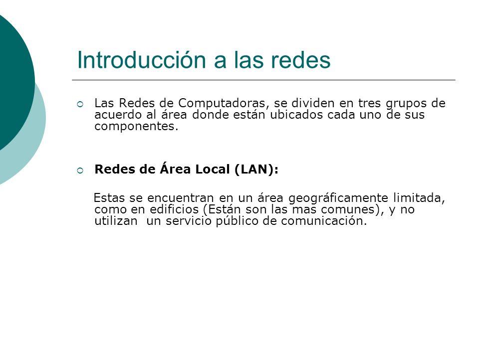 Introducción a las redes Redes de Área Amplia (WAN): Estas se encuentran ubicadas en grandes extensiones territoriales; en todo un país o en varios países, conectadas mediante diferentes dispositivos.