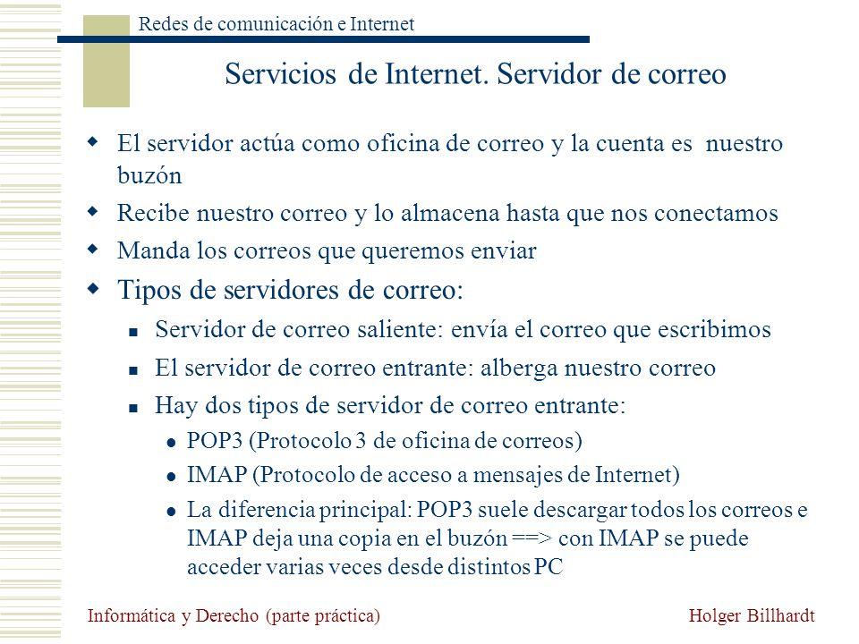 Holger Billhardt Redes de comunicación e Internet Informática y Derecho (parte práctica) Servicios de Internet. Servidor de correo El servidor actúa c