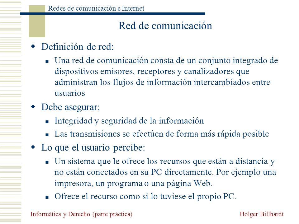 Holger Billhardt Redes de comunicación e Internet Informática y Derecho (parte práctica) Red de comunicación Definición de red: Una red de comunicació