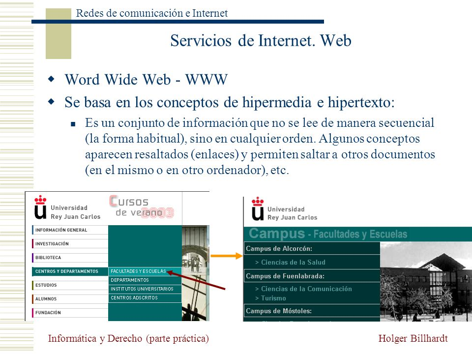 Holger Billhardt Redes de comunicación e Internet Informática y Derecho (parte práctica) Servicios de Internet. Web Word Wide Web - WWW Se basa en los