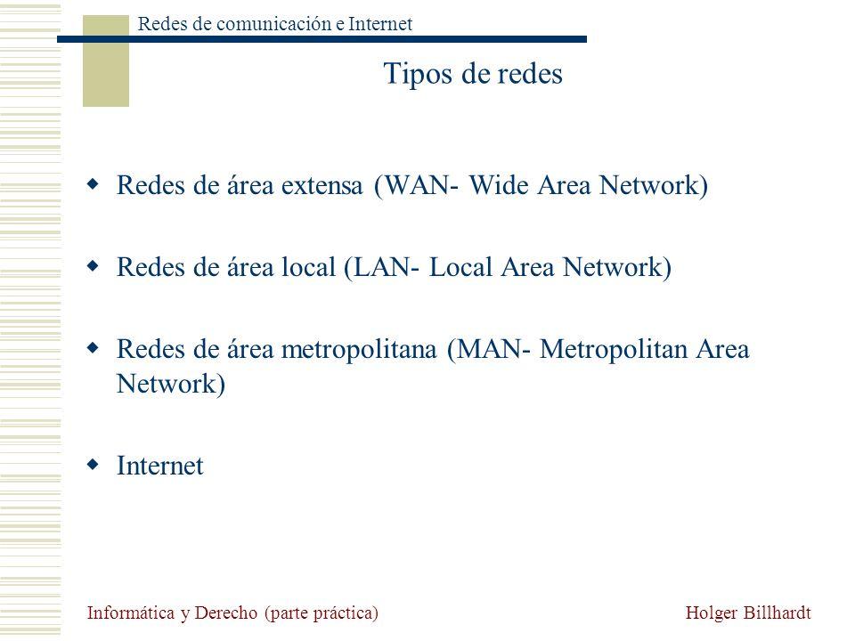 Holger Billhardt Redes de comunicación e Internet Informática y Derecho (parte práctica) Tipos de redes Redes de área extensa (WAN- Wide Area Network)