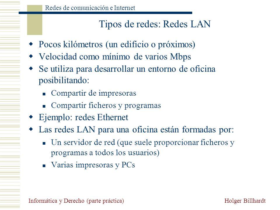 Holger Billhardt Redes de comunicación e Internet Informática y Derecho (parte práctica) Tipos de redes: Redes LAN Pocos kilómetros (un edificio o pró