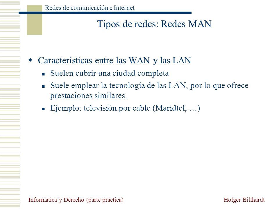Holger Billhardt Redes de comunicación e Internet Informática y Derecho (parte práctica) Tipos de redes: Redes MAN Características entre las WAN y las