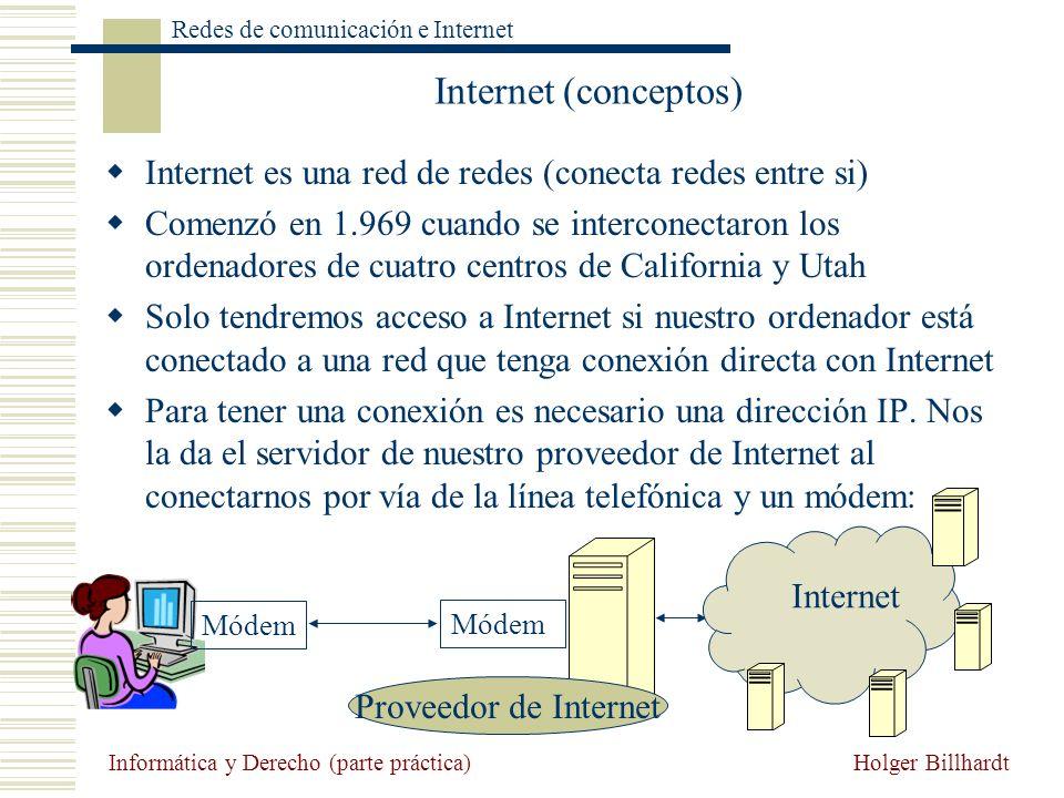 Holger Billhardt Redes de comunicación e Internet Informática y Derecho (parte práctica) Internet (conceptos) Internet es una red de redes (conecta re