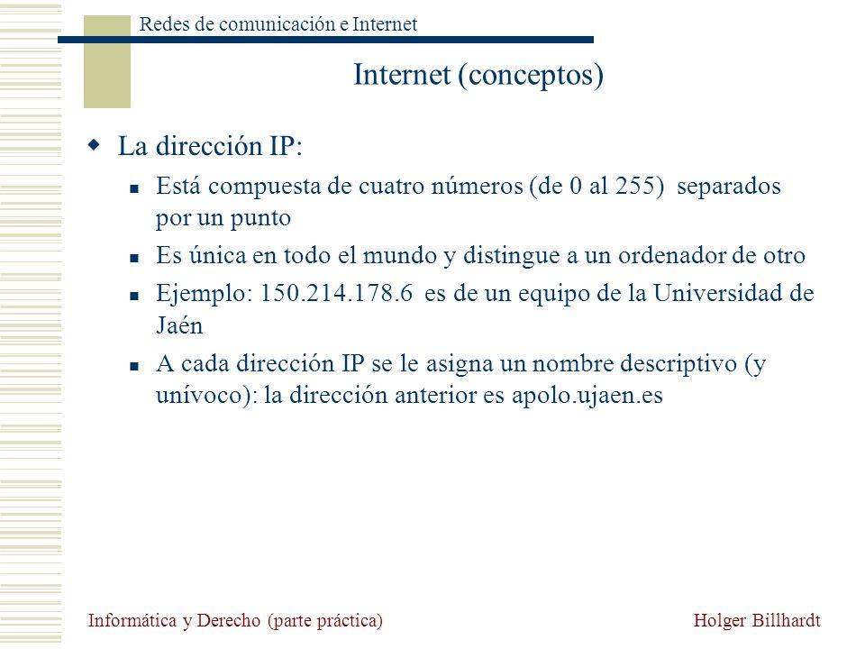 Holger Billhardt Redes de comunicación e Internet Informática y Derecho (parte práctica) Internet (conceptos) La dirección IP: Está compuesta de cuatr