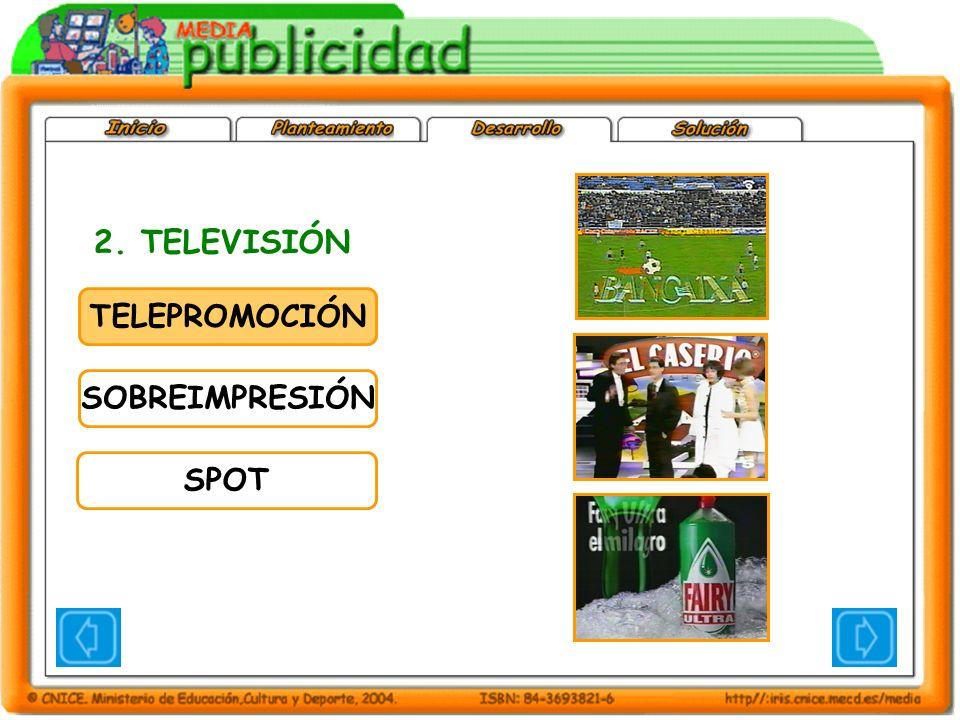 TELEPROMOCIÓN SOBREIMPRESIÓN SPOT 2. TELEVISIÓN