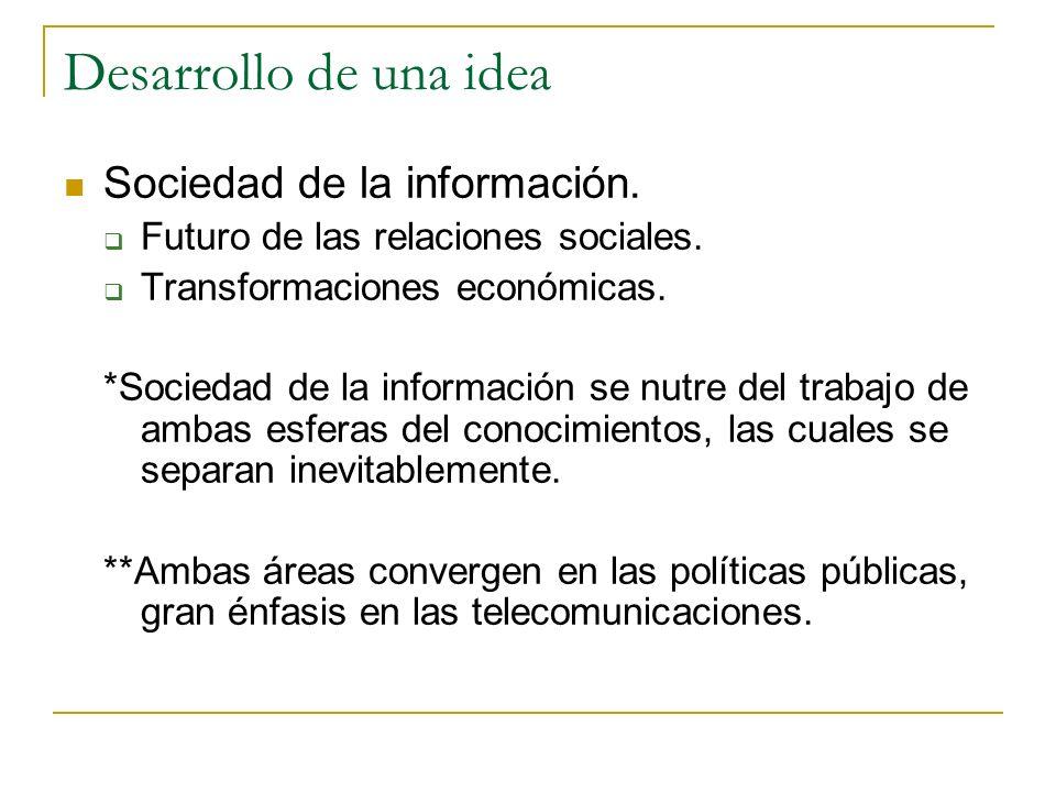 Desarrollo de una idea Sociedad de la información. Futuro de las relaciones sociales. Transformaciones económicas. *Sociedad de la información se nutr