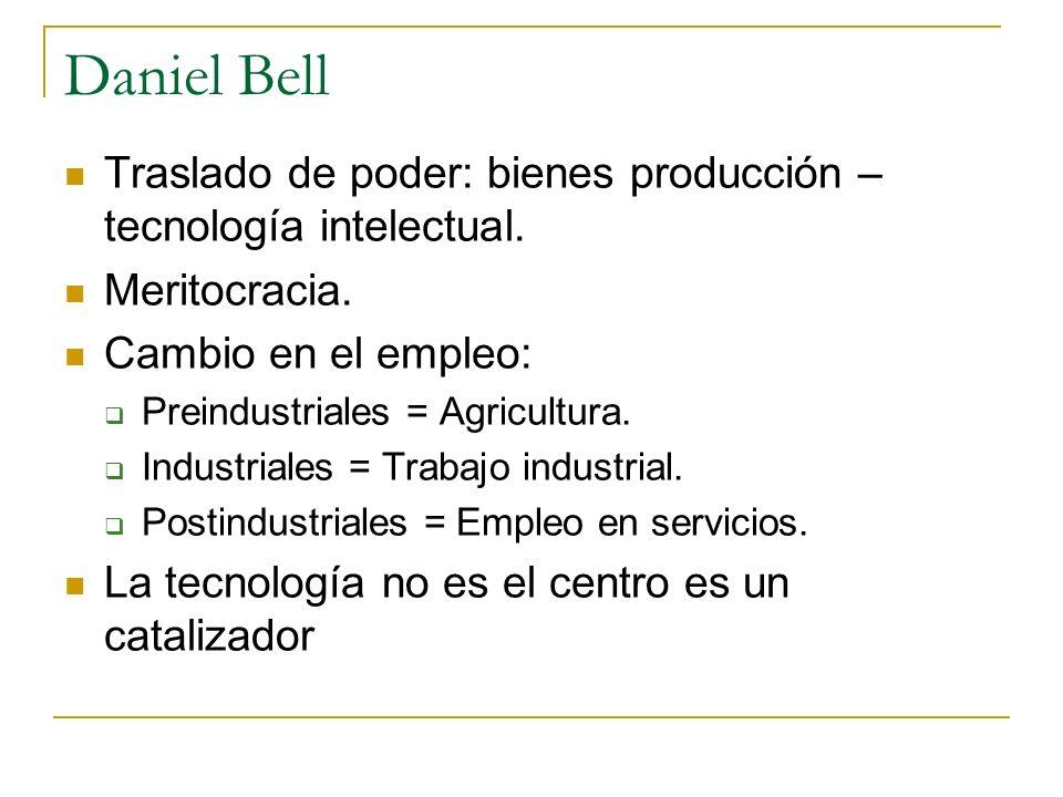 Daniel Bell Traslado de poder: bienes producción – tecnología intelectual. Meritocracia. Cambio en el empleo: Preindustriales = Agricultura. Industria