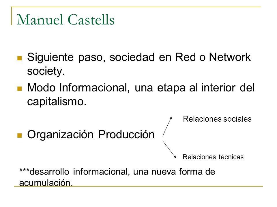 Manuel Castells Siguiente paso, sociedad en Red o Network society. Modo Informacional, una etapa al interior del capitalismo. Relaciones sociales Orga