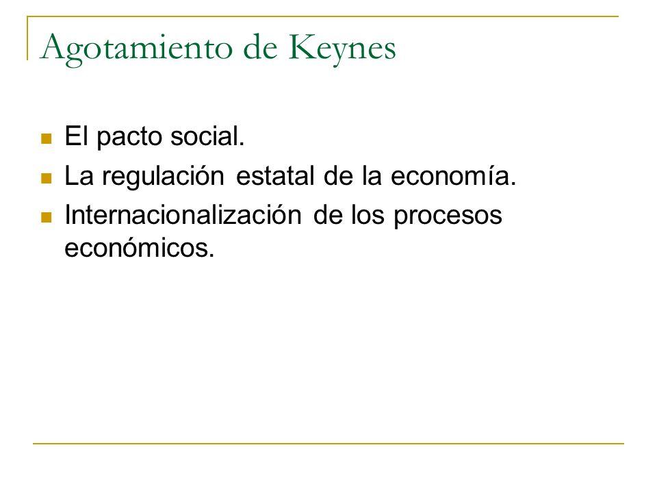 Agotamiento de Keynes El pacto social. La regulación estatal de la economía. Internacionalización de los procesos económicos.