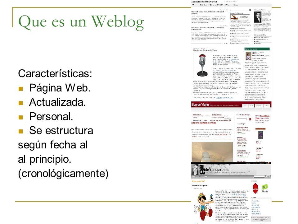 Que es un Weblog Características: Página Web. Actualizada. Personal. Se estructura según fecha al al principio. (cronológicamente)