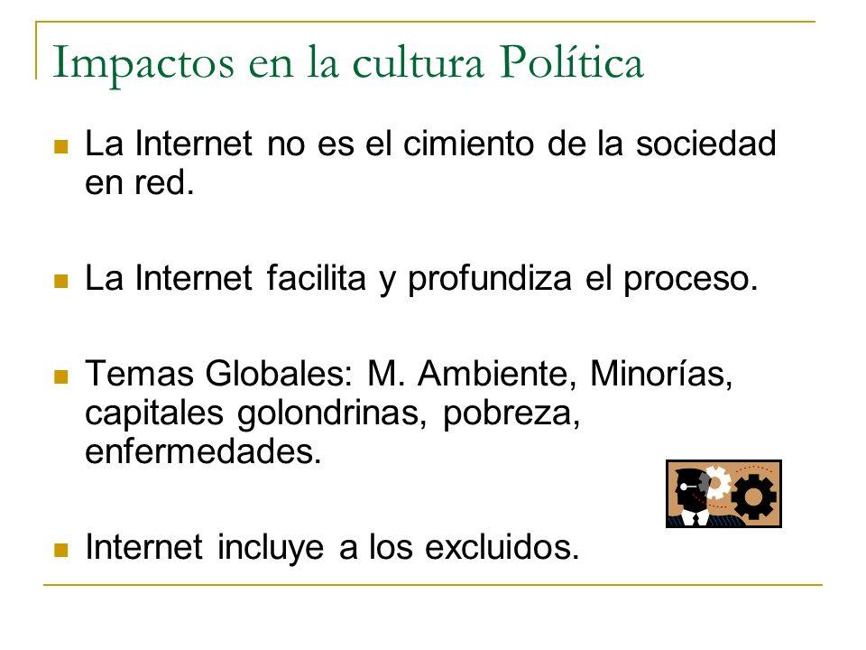 Impactos en la cultura Política La Internet no es el cimiento de la sociedad en red. La Internet facilita y profundiza el proceso. Temas Globales: M.