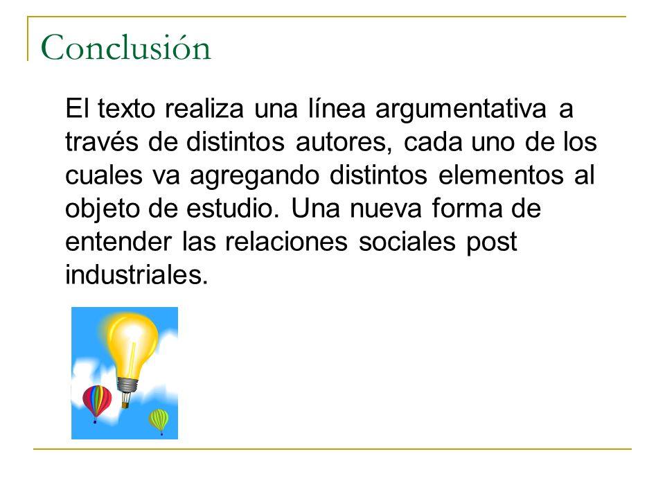 Conclusión El texto realiza una línea argumentativa a través de distintos autores, cada uno de los cuales va agregando distintos elementos al objeto d