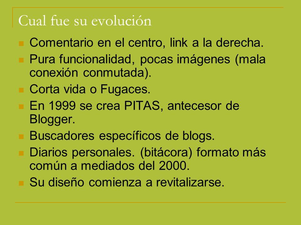 Cual fue su evolución Comentario en el centro, link a la derecha. Pura funcionalidad, pocas imágenes (mala conexión conmutada). Corta vida o Fugaces.