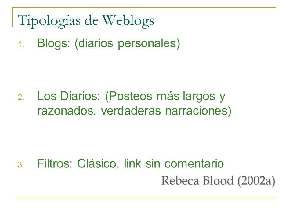 Tipologías de Weblogs 1. Blogs: (diarios personales) 2. Los Diarios: (Posteos más largos y razonados, verdaderas narraciones) 3. Filtros: Clásico, lin
