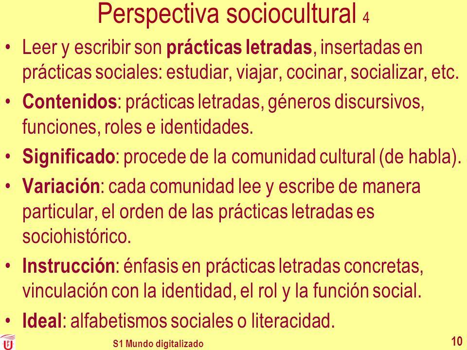 Perspectiva sociocultural 4 Leer y escribir son prácticas letradas, insertadas en prácticas sociales: estudiar, viajar, cocinar, socializar, etc. Cont