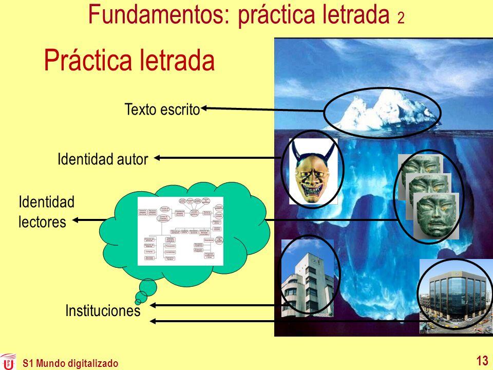 S1 Mundo digitalizado 13 Fundamentos: práctica letrada 2 Texto escrito Identidad autor Identidad lectores Instituciones Práctica letrada