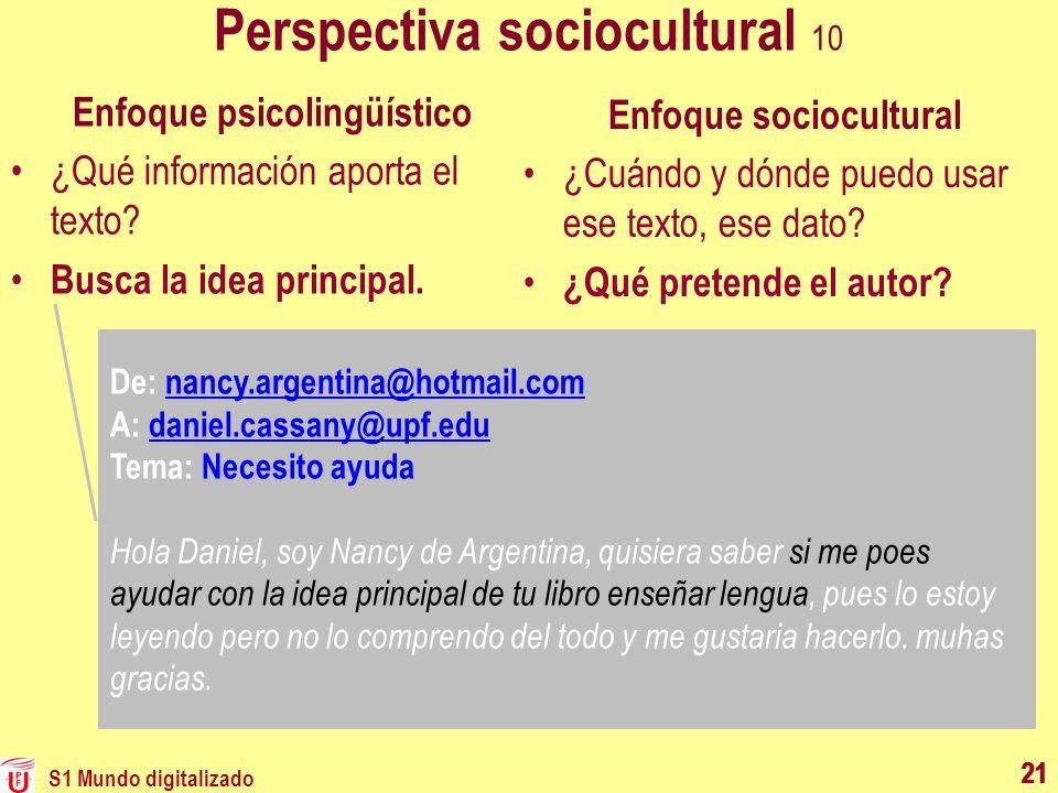 21 Perspectiva sociocultural 10 Enfoque psicolingüístico ¿Qué información aporta el texto? Busca la idea principal. Enfoque sociocultural ¿Cuándo y dó