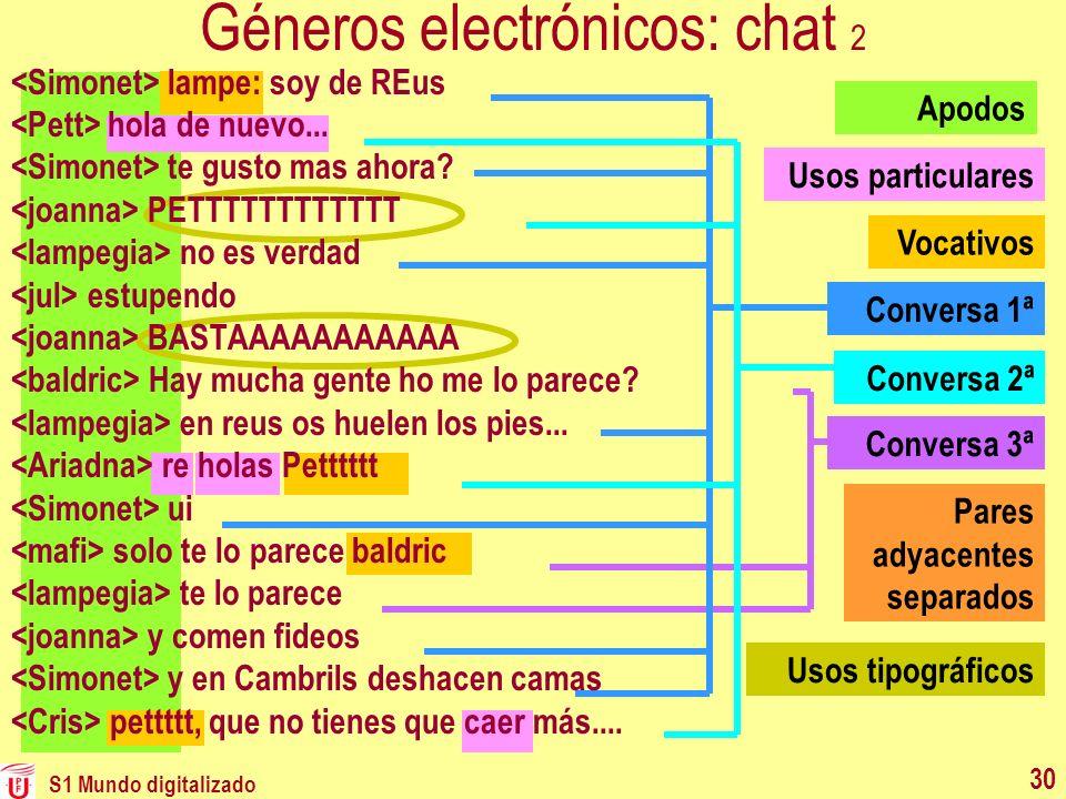 S1 Mundo digitalizado 30 Conversa 3ª Conversa 1ª Conversa 2ª Géneros electrónicos: chat 2 Vocativos Usos particulares Pares adyacentes separados Apodo