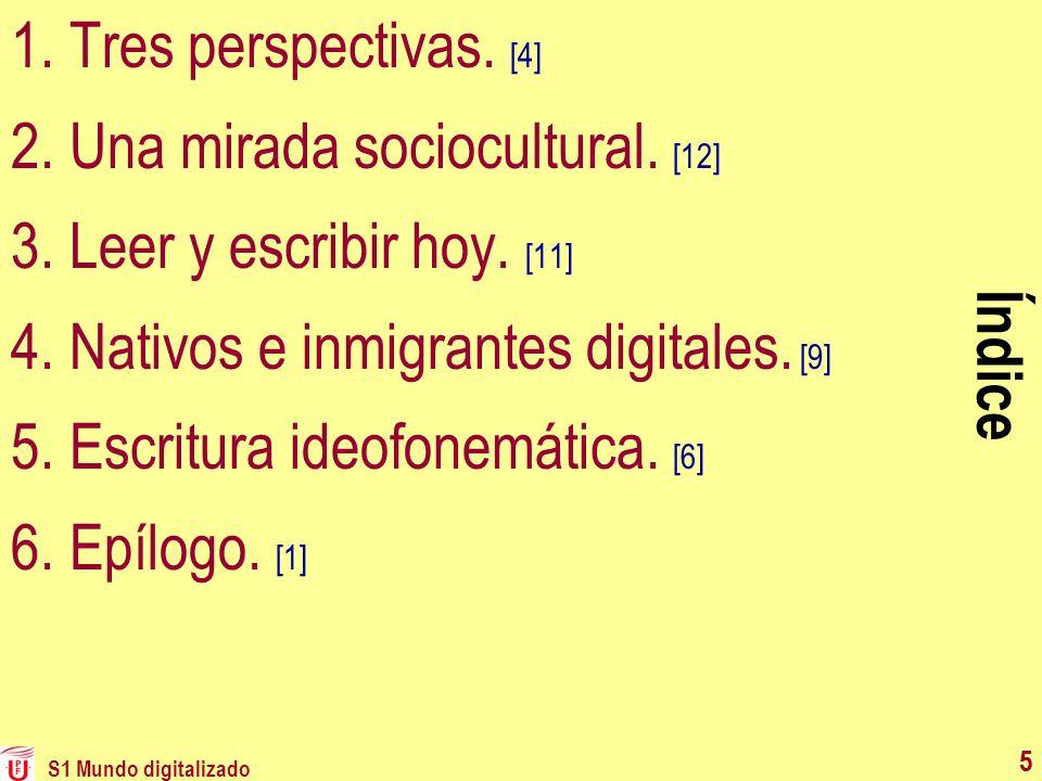 5 Índice 1.Tres perspectivas. [4] 2.Una mirada sociocultural. [12] 3.Leer y escribir hoy. [11] 4.Nativos e inmigrantes digitales. [9] 5.Escritura ideo