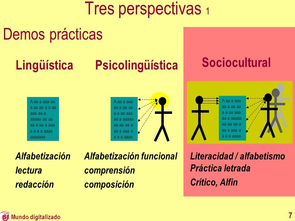 S1 Mundo digitalizado 7 Tres perspectivas 1 Demos prácticas LingüísticaPsicolingüística Sociocultural A aa a aaa aa a aa aa a a aa aaa aa a aaaaa aa a