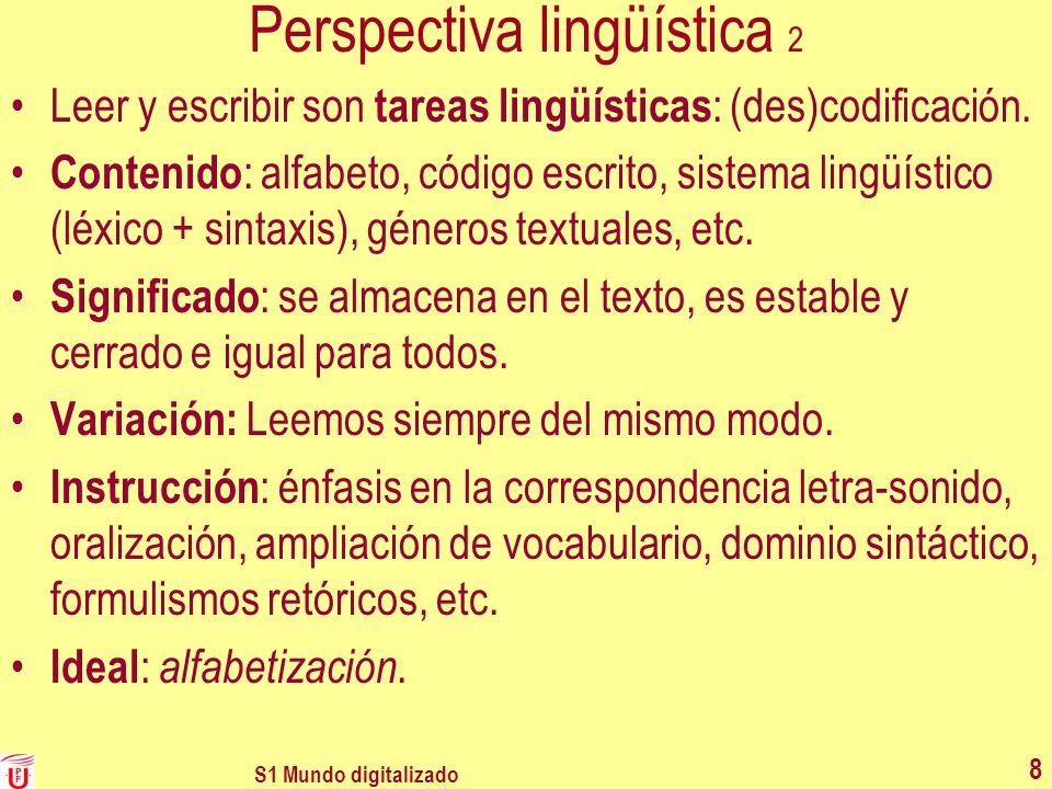 Perspectiva lingüística 2 Leer y escribir son tareas lingüísticas : (des)codificación. Contenido : alfabeto, código escrito, sistema lingüístico (léxi
