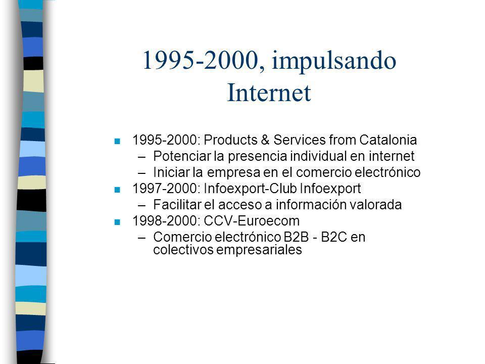 1995-2000, impulsando Internet n 1995-2000: Products & Services from Catalonia –Potenciar la presencia individual en internet –Iniciar la empresa en e