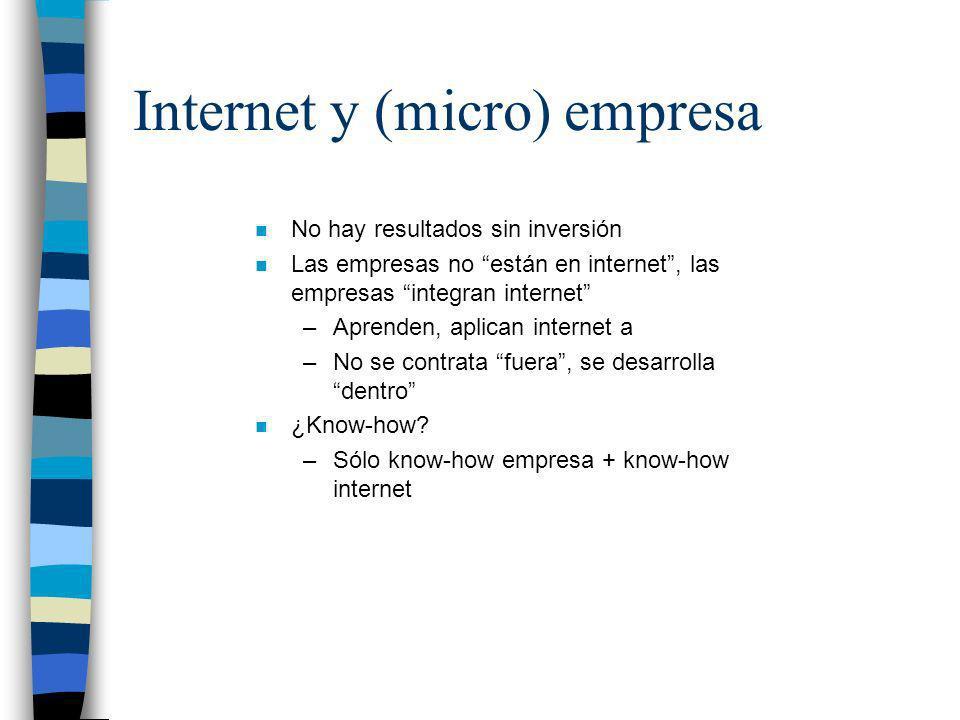 Internet y (micro) empresa n No hay resultados sin inversión n Las empresas no están en internet, las empresas integran internet –Aprenden, aplican in