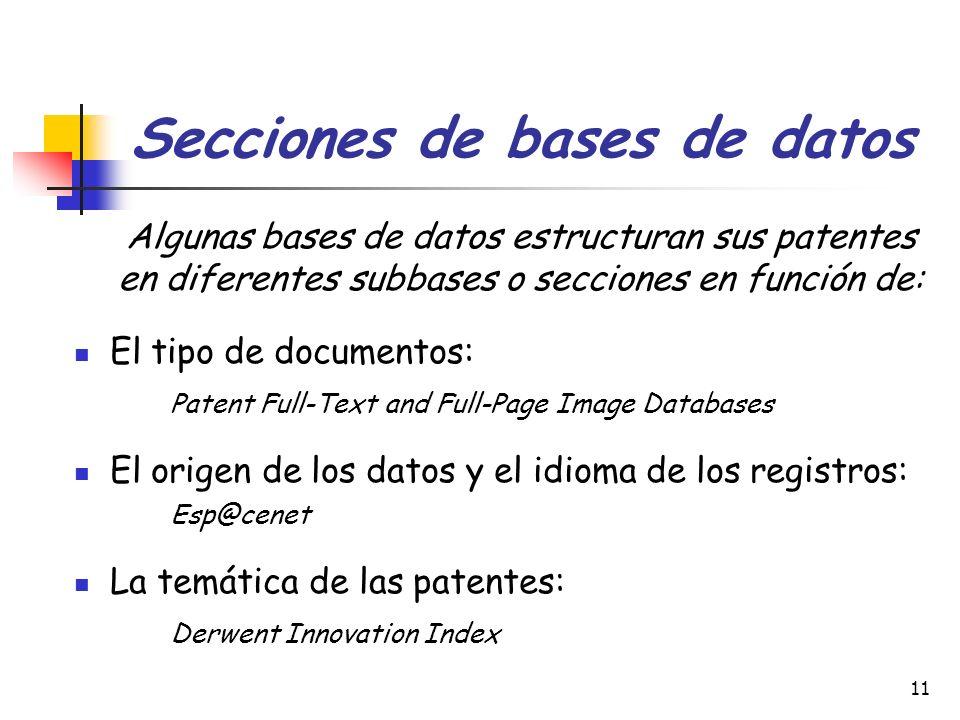 11 Secciones de bases de datos Algunas bases de datos estructuran sus patentes en diferentes subbases o secciones en función de: El tipo de documentos