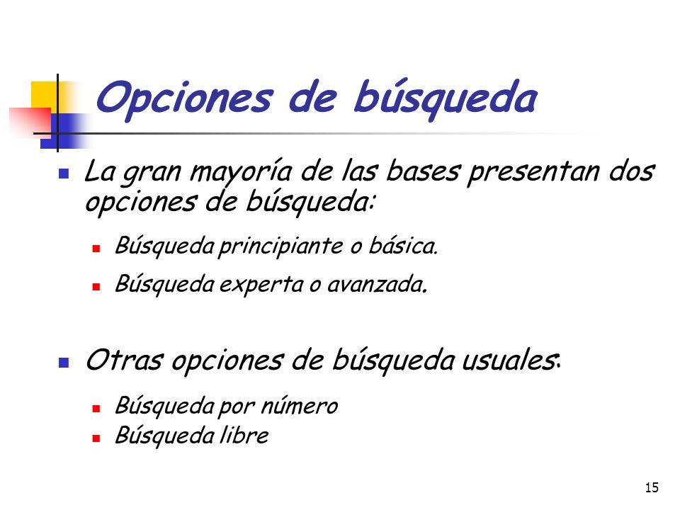 15 Opciones de búsqueda La gran mayoría de las bases presentan dos opciones de búsqueda: Búsqueda principiante o básica. Búsqueda experta o avanzada.