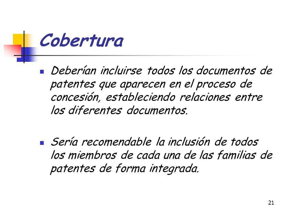 21 Cobertura Deberían incluirse todos los documentos de patentes que aparecen en el proceso de concesión, estableciendo relaciones entre los diferente