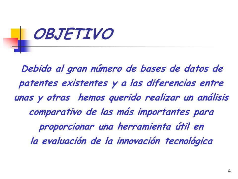 4 OBJETIVO Debido al gran número de bases de datos de patentes existentes y a las diferencias entre unas y otras hemos querido realizar un análisis co