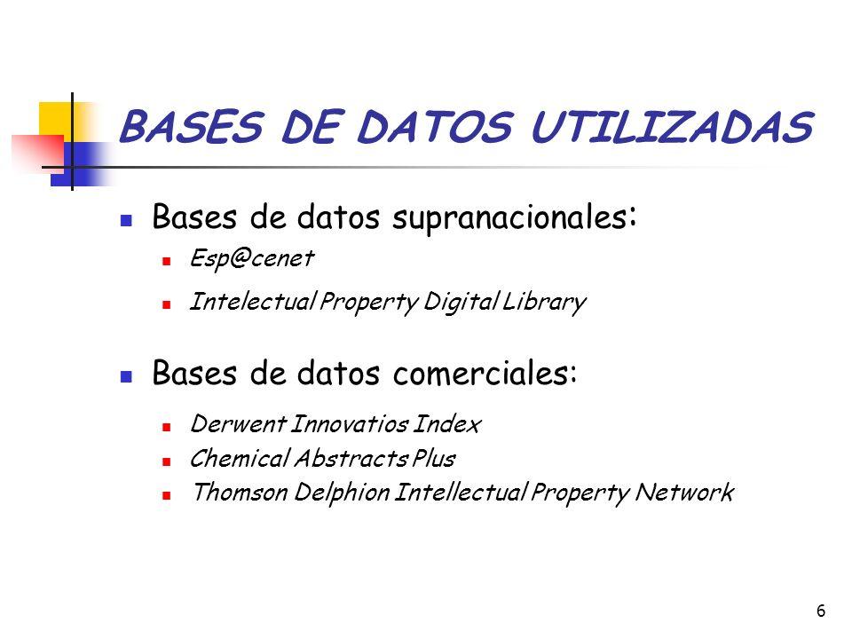 6 BASES DE DATOS UTILIZADAS Bases de datos supranacionales : Esp@cenet Intelectual Property Digital Library Bases de datos comerciales: Derwent Innova