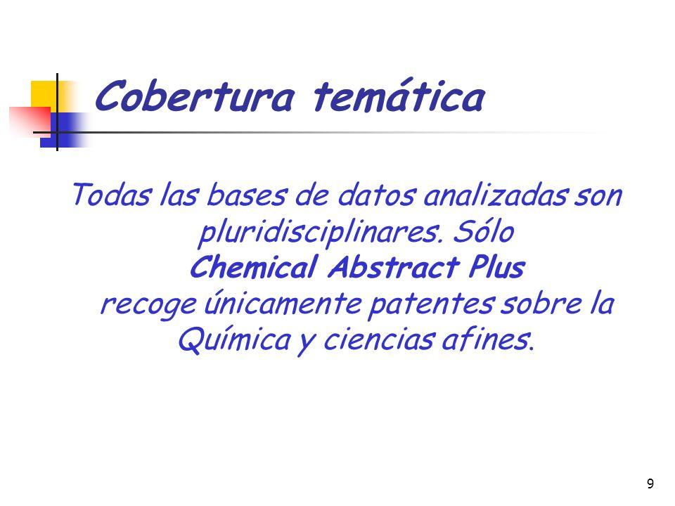 9 Cobertura temática Todas las bases de datos analizadas son pluridisciplinares. Sólo Chemical Abstract Plus recoge únicamente patentes sobre la Quími