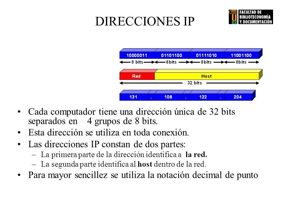 DIRECCIONES IP Cada computador tiene una dirección única de 32 bits separados en 4 grupos de 8 bits. Esta dirección se utiliza en toda conexión. Las d