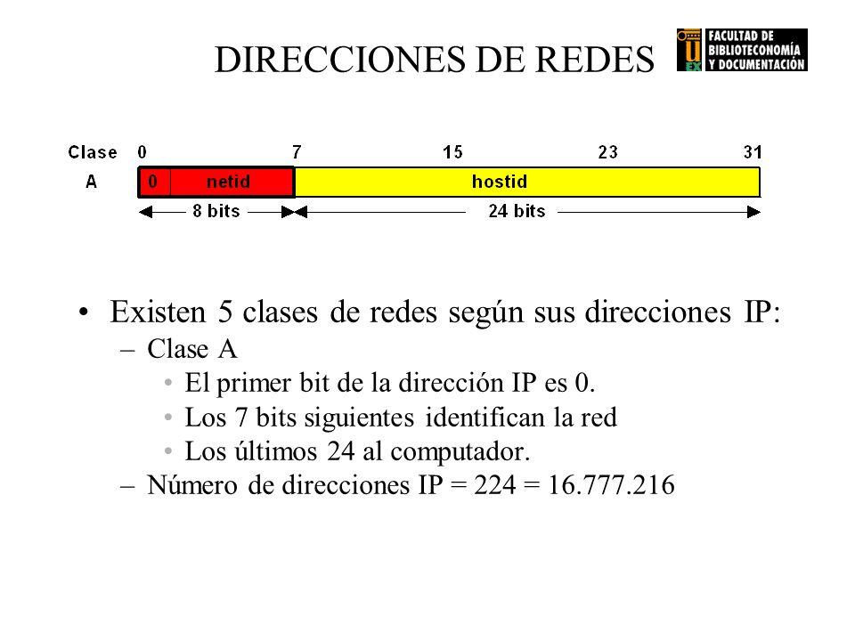 DIRECCIONES DE REDES Existen 5 clases de redes según sus direcciones IP: –Clase A El primer bit de la dirección IP es 0. Los 7 bits siguientes identif