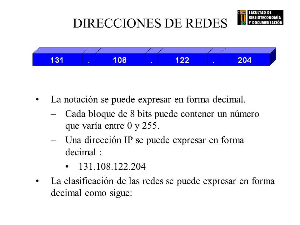 DIRECCIONES DE REDES La notación se puede expresar en forma decimal. –Cada bloque de 8 bits puede contener un número que varía entre 0 y 255. –Una dir