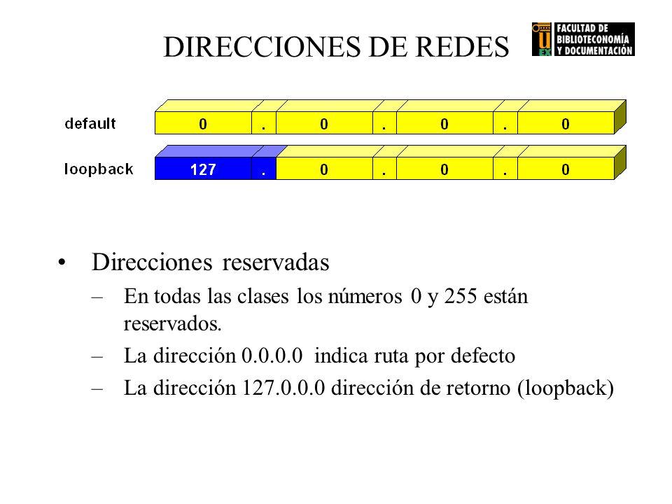 Direcciones reservadas –En todas las clases los números 0 y 255 están reservados. –La dirección 0.0.0.0 indica ruta por defecto –La dirección 127.0.0.