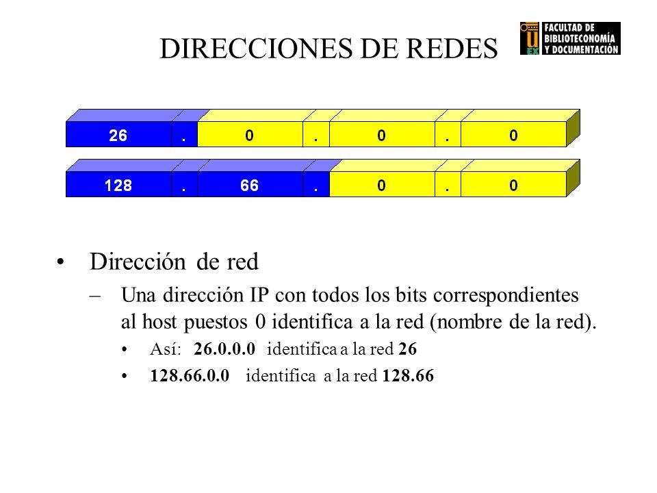 Dirección de red –Una dirección IP con todos los bits correspondientes al host puestos 0 identifica a la red (nombre de la red). Así: 26.0.0.0 identif