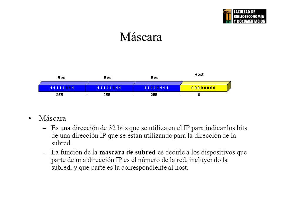 Máscara –Es una dirección de 32 bits que se utiliza en el IP para indicar los bits de una dirección IP que se están utilizando para la dirección de la