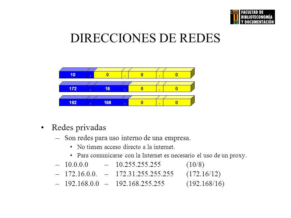 DIRECCIONES DE REDES Redes privadas –Son redes para uso interno de una empresa. No tienen acceso directo a la internet. Para comunicarse con la Intern