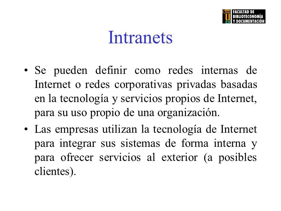 Intranets Se pueden definir como redes internas de Internet o redes corporativas privadas basadas en la tecnología y servicios propios de Internet, pa