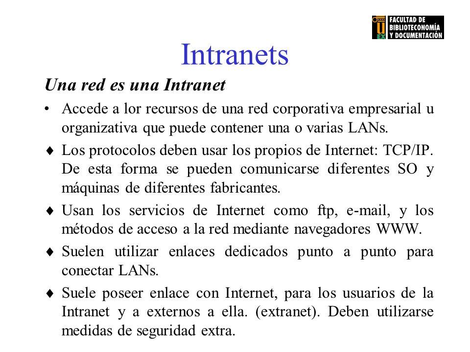 Intranets Una red es una Intranet Accede a lor recursos de una red corporativa empresarial u organizativa que puede contener una o varias LANs. Los pr