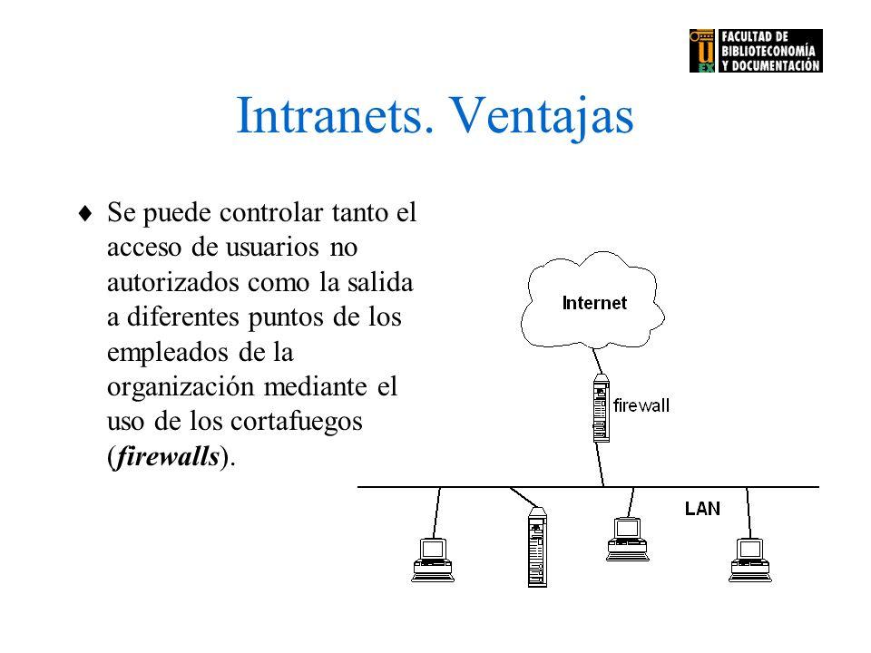 Intranets. Ventajas Se puede controlar tanto el acceso de usuarios no autorizados como la salida a diferentes puntos de los empleados de la organizaci