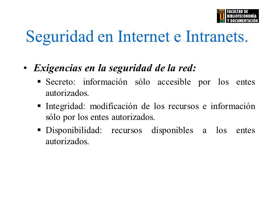 Seguridad en Internet e Intranets. Exigencias en la seguridad de la red: Secreto: información sólo accesible por los entes autorizados. Integridad: mo